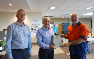 David Fogarty (Right) receiving his 5 years' Service Award from Peter Dale CEO (Centre).  Brisbane Manager Stewart Topping (Left).