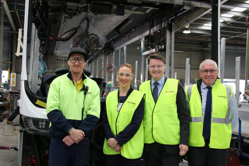 Photo left to right; Jason Shulz, Volgren's Chassis Department Section Leader, Local Member for Dandenong Gabrielle Williams, Minister for Industry and Employment Ben Carroll and Volgren Chief Executive Officer Peter Dale.