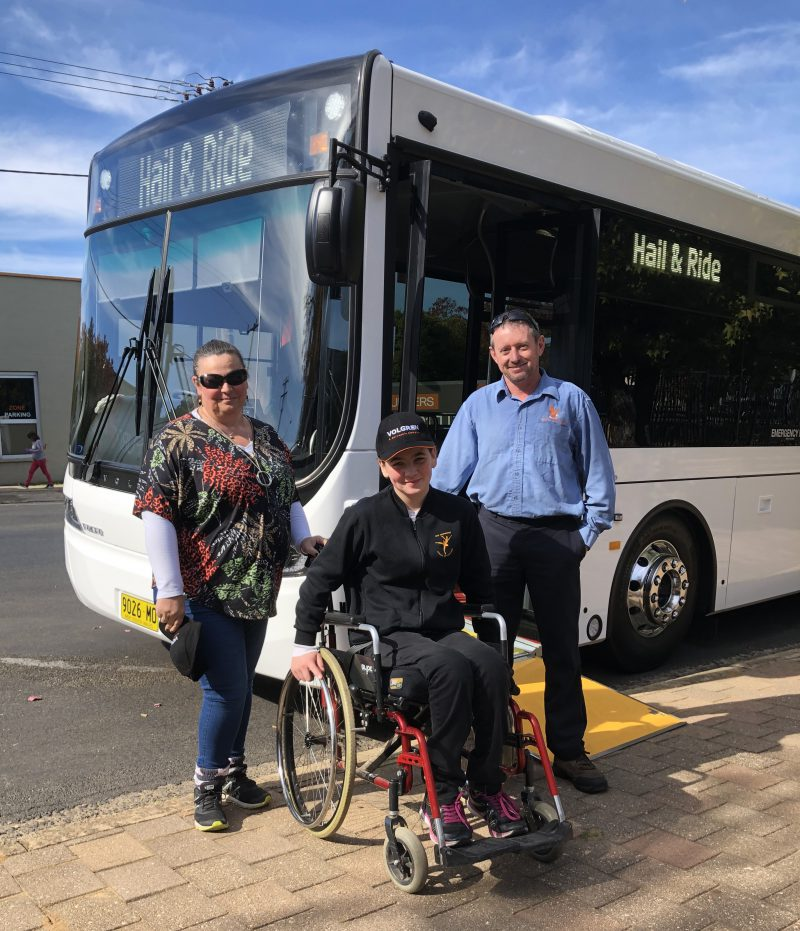 Left to right: Cindy Saxby, daughter Sophie Saxby and Jeff Brown - Cowra Bus Service Assistant Manager